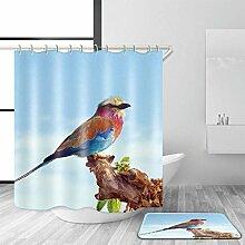 HY-FHLJ Duschvorhang und Badematte Set Bad Zubehör Polyester Mildewproof Wasserdicht Modern Style Magpie Pattern Bad Dekor mit 12 Kunststoff Haken Multi Size , 180 x 200 cm