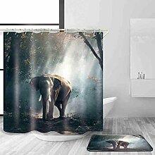 HY-FHLJ Duschvorhang und Badematte Set mit 12 Kunststoffhaken Polyester wasserdicht Schimmel Beweis Elefanten Muster Bad Zubehör Bad Dekoration Multi Größe , @2 , 120 x 200 cm
