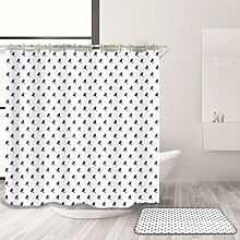 HY-FHLJ Duschvorhang und Badematte Set Polyester Wasserdicht Mildewproof Mode Wave Point Style Bad Zubehör Bad Dekor mit 12 Kunststoff Haken Multi Size Gleiche Farbe System , @3 , 170 x 170 cm