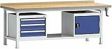 Hydraulikwerkbank höhenverstellbar 2000x800x750-950 mm 3 Schubladen 1 Schrank WPHL50-20M45-E2V02