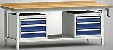 Hydraulikwerkbank höhenverstellbar mit Handkurbel 2000x800x750-950 mm 6 Schubladen WPHL50-20M45-E2V03