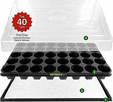 Hydroponik 40 Zimmer-Gewächshaus Profi XL mit automatischer Bewässerung für die Anzucht - GREEN24 Zimmer Treibhaus mit Wanne + Kapillarsystem + Topfplatte + Haube