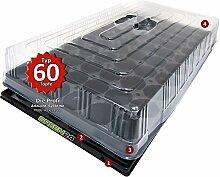 Hydroponik 60 Zimmer-Gewächshaus Profi XL mit automatischer Bewässerung für die Anzucht - GREEN24 Zimmer Treibhaus mit Wanne + Kapillarsystem + Topfplatte + Haube