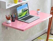 HYDT Massivholz Wand Tisch Falttisch Esstisch Wand Tisch Einfach Falttisch Farbe Größe Optional ( Farbe : Pink , größe : 120*40cm )