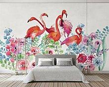 HYF Wallpaper Handgemalte Blume Flamingo
