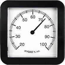 Hygrometer Analog . Luftfeuchtemesser im Kunststoff Gehäuse schwarz