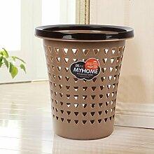 hyl Mülleimer Haushalt Kunststoff Mülleimer ( Farbe : Braun , größe : M )