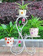 HYNH Eisen Blumen-Racks drei Schichten im europäischen Stil Blumentopf Rack Innen- und Außen Balkon Wohnzimmer Landung Blumen-Racks Eingelegtes Regal kreatives Blumengestell ( Farbe : 4 )