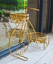 HYNH Eisen Blumen Racks Europäische kreative Garten Fenster Dekoration Fahrrad Blumen Racks Blumentopf Rack Gold, grün und weiß Eingelegtes Regal kreatives Blumengestell ( farbe : Gold , größe : 66*23*43cm )