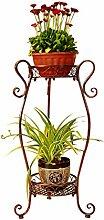 HYNH Eisen Blumen-Racks im europäischen Stil Zwei Schichten Landung Formel Blumentopf Rack Wohnzimmer Balkon Innen- und Außen Töpfe Regal Eingelegtes Regal kreatives Blumengestell ( Farbe : 1 , größe : 42*26*85cm )