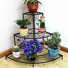 HYNH Eisen Blumenregale Mehrere Schichten europäischer Stil Landung Verarbeiten Blumenregale Balkon Drinnen Ecke Ladertyp Blumentopf-Rack Eingelegtes Regal kreatives Blumengestell ( Farbe : 1 )
