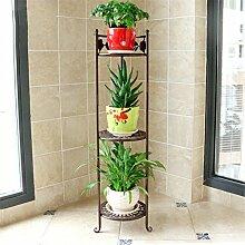 HYNH European-style Iron Flower Racks Mehrgeschossiger Boden-Stil Balkon Indoor Wohnzimmer Blumen Regal / Pflanze Stand Creative Flower Pot Rack / Topf Regal Eingelegtes Regal kreatives Blumengestell ( farbe : C , größe : 78cm )