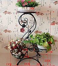 HYNH Im europäischen Stil Eisen-Blumen-Racks Mehrgeschossige Boden Balkon Blumentopf Rack Indoor Wohnzimmer Pot Rack / Plant Stand Eingelegtes Regal kreatives Blumengestell ( farbe : C , größe : H-75cm )