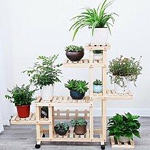 HYNH Korrosionsschutz Verkohlung Massivholz Blumenregale Balkon Wohnzimmer Blumenregale Mehrere Schichten Blumentopf-Rack Eingelegtes Regal kreatives Blumengestell ( Farbe : 2 , größe : 123*25*106cm )