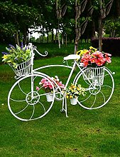 HYNH Kreative Blume Racks Europäischen Stil Eisen Fahrrad-Typ Blume Rack Hochzeit Dekoration Blume Rack Weiß Eingelegtes Regal kreatives Blumengestell