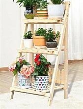 HYNH Massivholz 3-stöckiges Fußboden-Blumen-Topf-Regal, Betriebs-Standplatz, Blumen-Zahnstange für Balkon, Innen Eingelegtes Regal kreatives Blumengestell ( farbe : B )