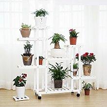 HYNH Massivholz Montageart Wirtschaft Blumenregale Balkon Wohnzimmer Mehrere Schichten Landung Blumentopf-Rack Eingelegtes Regal kreatives Blumengestell ( Farbe : 2 , größe : 124*25*108cm )