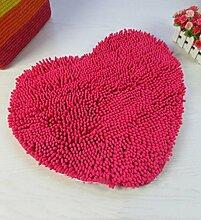 HYNH Nette rutschfeste herzförmige Wolldecke, Bad-Matte, saugfähige Matte für Bad, Türmatte, rot Nicht verblassen ( größe : 70*80cm )