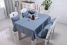 HYSENM Tischdecke Tischwäsche Baumwolle abwaschbar einfarbig vintage für Geburtstag, Blau 137 x 200cm
