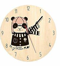 hysxm 1 Stück Stumm Holz Uhr Dekorative Runde