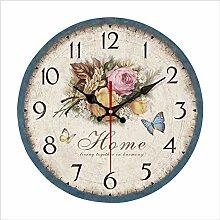 hysxm Hölzerne Wanduhr englische Uhr