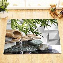 HYTCV Badezimmer Matte Brunnen Wasser Zen Stein
