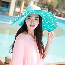 Hyun times Strand Hut weiblichen Sommer Sonnenschutz Sonnenschutz faltbare Sonnencreme Sonnenschutz UV Hut ( Farbe : Blau Grün )