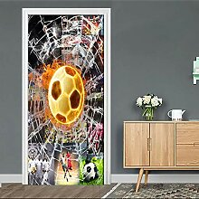 HYXLN Kreative 3D Fußball Tür Aufkleber Für