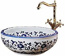 HYY-YY Keramik-Waschbecken, rund, 41 x 15 cm,