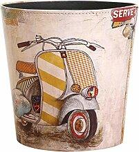 HYZH 10L Vintage Papierkörbe PU Leder Abfalleimer