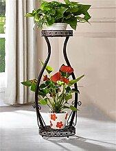 HZA Europäische 2-Tier Schmiedeeisen Boden Flower Pot Regal, Pflanzen stehen, Blumenregal für Balkon, Indoor, Wohnzimmer Leiter Hochwertige Materialien ( farbe : Bronze , größe : L )