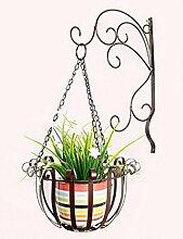 HZA Europäische Art-Eisen-Wand-hängende Blumentöpfe Regal für Innen-, Balkon-, Wand-hängende Orchideenkorb, Zahnstange Hochwertige Materialien ( farbe : Bronze )