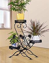 HZA Europäischer kreativer dreistöckiger Eisen-Fußboden-Blumen-Topf-Regal, hängend Orchidee-Topf-Zahnstange für Balkon, Wohnzimmer, Innen Hochwertige Materialien ( farbe : Schwarz )