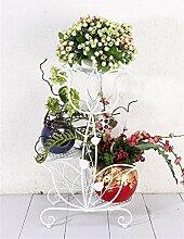 HZA European - Stil Creative Eisen 3 - Tier - Boden Blumentopf Regal, Pflanzen stehen, Blumen - Rack für Balkon, Indoor, Büros Hochwertige Materialien ( farbe : Weiß )