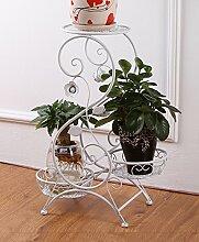 HZA European-Stil Eisen Blume Racks, Multi-Layer-Blumentöpfe Leiter Blumenregal, drei Regale Blumenregal Sub-Balkon Bonsai Frame Hochwertige Materialien ( größe : B-32*66cm )