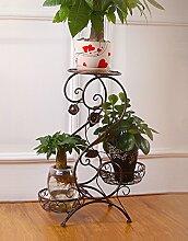 HZA European-Stil Eisen Blume Racks, Multi-Layer-Blumentöpfe Leiter Blumenregal, drei Regale Blumenregal Sub-Balkon Bonsai Frame Hochwertige Materialien ( größe : A-32*66cm )