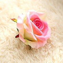 HZFKünstliche Blumen Heimtextilien dekoratives Hochzeit Blumen Rose Blume Kopf tuch, pink