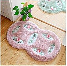 HZH Maschinenwäsche Badezimmermatten Fußmatten Teppiche Schlafzimmer Tür Badezimmer Matten Saugmatten ( Color : Pink )