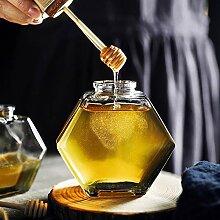 HZKMPCWL Honigtopf, sechseckig, Glas, Honigglas,