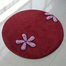 HZZ-Teppich Rundes Wohnzimmer-Schlafzimmer-Computer-Stuhl-Schwenker-Matten-Teppich-Antibeleg-Bett-Seiten-Matten ( größe : 80cm )