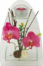 I.GE.A. Kunstpflanze Orchidee mit Teelichthalter