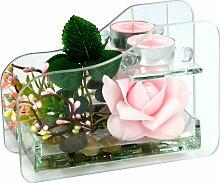 I.GE.A. Kunstpflanze Rose im Glas mit Teelicht