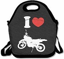 I Heart Love Dirt Bike Logo Lunch Box Bag For Kids