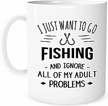I Just Want to Go Fishing - 11 Ounce White Ceramic
