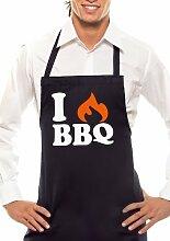 I LOVE BBQ - Zweifarbig - Grillschürze Schwarz / Orange-Weiss