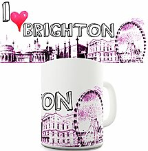 I Love Brighton Print Tourist Travel City Souvenir-Becher Keramiktasse