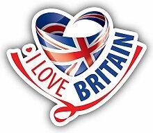 I Love Great Britain Glossy Flag - Self-Adhesive