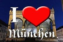 I love Matte München-Odeonsplatz I (60 cm x 85 cm) - waschbar, rutschfest TOP-QUALITÄT