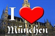 I love Matte München-Rathaus I - waschbar, rutschfest TOP-QUALITÄT (75 cm x 120 cm)