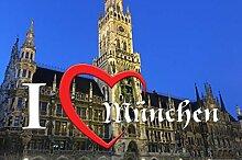I love Matte München-Rathaus II (75 cm x 120 cm) - waschbar, rutschfest TOP-QUALITÄT